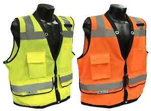 Radians Sv59 Class 2 Heavy Duty Surveyor Safety Vest Mesh Solid Orange green