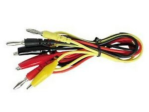 pack Of 10 Velleman Tlm3 Banana To Alligator 3 Test Lead Set Red black yellow