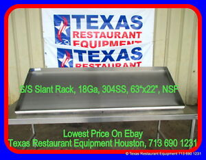New Stainless Steel Slant Rack 63 X 22 Nsf Houston Texas