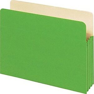 Staplestop Tab File Pockets 5 1 4 Expansion Letter Green 25 bx Free S h