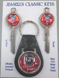 Red Pontiac Grand Prix Deluxe Classic White Gold Key Set 1970 1974 1978 1982