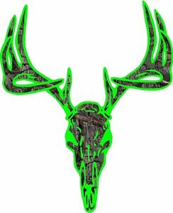 Lime Green Camouflage Deer Buck Skull Hunting Vinyl Graphic Decal