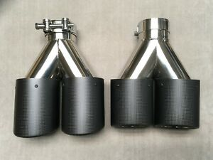 2x Dry Carbon Fiber 304 Stainless Muffler Tip 62mm Inlet For Is350 Is250 Gs350