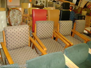 Larry Laslo Brand Upholstered Office Arm Chairs Set 4