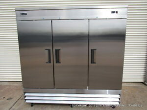 New Equipchefs Cfd 3ff Reach in 3 Swing Solid Door Freezer On Casters Cfd