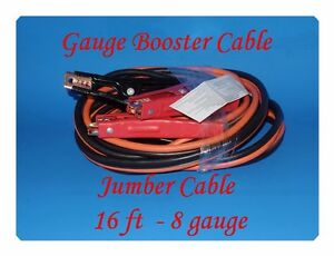 16 Ft 8 Gauge Booster Cable Emergency Car Battery Jumper For All 4 6