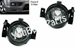 Fog Lights Ford Focus 2 2004 2008 C Max 2003 2007 Clear Driving Lamps Pair
