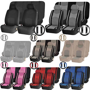 Mesh Front Seat Back Row Split Bench Covers Steering Universal Combo