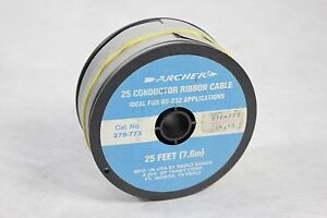 25 Feet Roll Of Archer Radio Shack 25 Conductor Flat Ribbon Cable Wire 278 773