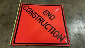 End Construction Roll up Vinyl Sign Bone Safety Brand 48 x48