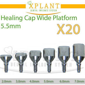 20x Healing Caps For Wide 5 5mm Dental Implant Abutments Lab Internal Hex