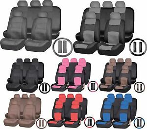 Uaa Universal Suv Synthetic Pu Leather Seat Split Bench Steering Wheel Cover Set