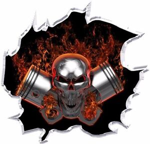 Machine Head Pistons Skull Vinyl Graphic Decal Motorcycle Go Kart Race Car Hood