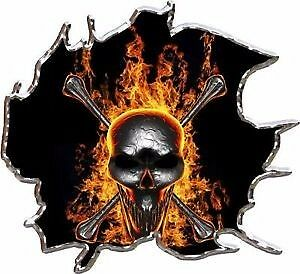 Flaming Skull Race Car Go Kart Vinyl Graphic Decal