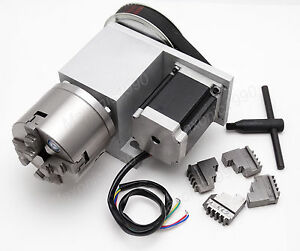Cnc Engraving Router Rotational Axis 4th Axis A Axis 4 Jaw 80mm Lathe Chuck
