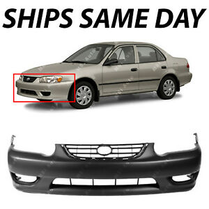 New Primered Front Bumper Cover Fascia For 2001 2002 Toyota Corolla Sedan