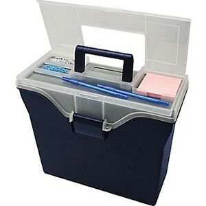 Lot Of 5 Staples Portable File Box W organizer Top Letter Size Navy Free S h