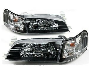 1 Pairs Front Crystal Black Face Head Light Lamp Corolla Ae100 Ae101 E100 Toyota