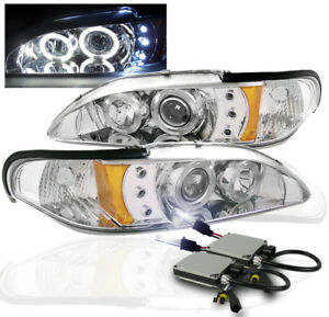 1994 1998 Ford Mustang Twin Halo Drl Led Projector Headlights Chrome 10k Hid Kit
