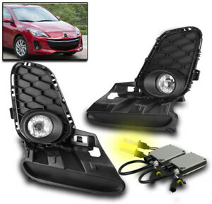 2012 2013 Mazda 3 Mazda3 Chrome Bumper Driving Fog Light Set W switch 3k Hid Kit