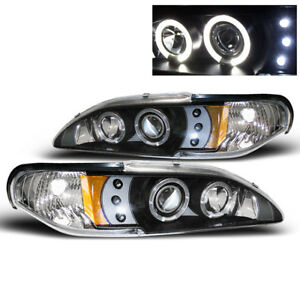 1994 1998 Ford Mustang Twin Halo Drl Led Projector Headlights Black Set Pair L R