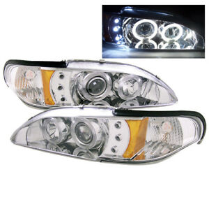 1994 1998 Ford Mustang Twin Halo Drl Led Projector Headlight Chrome Set Pair L R