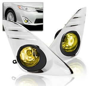 2012 2014 Toyota Camry Lower Bumper Driving Fog Lights Yellow switch harness Set