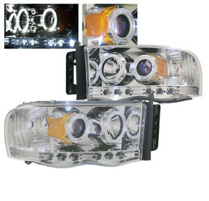 2002 2005 Dodge Ram 1500 2003 2005 2500 3500 Chrome Projector Halo Led Headlight