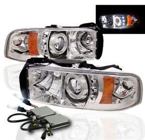 1994 2001 Dodge Ram Projector Halo Led Headlight Chrome W 8000k Hid Kit Pair L R