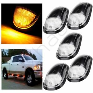 5pcs Clear Lens Amber Cab Marker Clearance Lights For 03 16 Dodge Ram 1500 2500