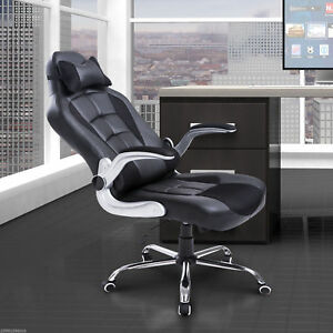 Racing Office Chair Pu Leather Recliner High Back Swivel Seat W Pillow