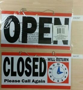 Open Closed Sign 11 5 X 6 Double Sided Hanging Plastic Will Return Clock
