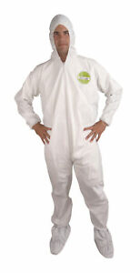 Xl White Microporous Coveralls Hood Boots Tyvek Alternative Case Of 25 New
