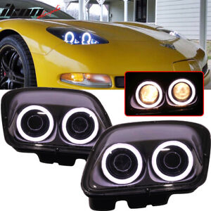 Fits 97 04 Chevy Corvette C5 Headlights Projector Lamp Black Dual Led Halo Rims