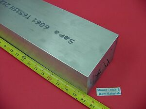 4 X 4 Aluminum 6061 Square Solid Bar 20 Long T6511 Flat New Mill Stock