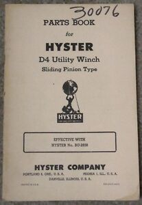 Vintage Hyster D4 Caterpillar Tractor Utility Winch Parts Book Model Bu