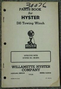 Vintage Hyster D8 Caterpillar Tractor Towing Winch Parts Book Model Hr