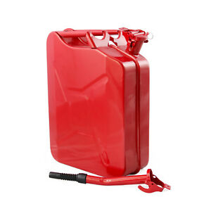 4pc Jerry Cans 20 Liters 5 Gallons Backup Steel Tank Fuel Gas Gasoline Red