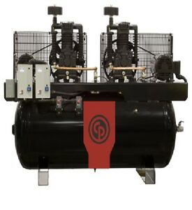 New Chicago Pneumatic 15 Hp Air Compressor Two Stage Electric Duplex Rcp c15123d