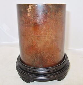 5 Antique Chinese Bronze Or Copper Brush Pot Vase With Inlay Scens On Stand