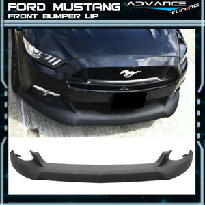 For 15 17 Ford Mustang Front Bumper Lip Unpainted Black Pu