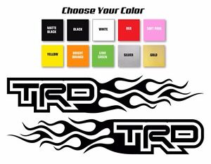 Trd Toyota Flame Style Logo Right Left Car Decal Stickers Pick Size Color