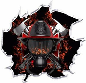 Firefighter Ripped Vinyl Graphic Decal