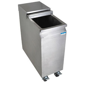 Stainless Steel Mobile Ice Bin On Casters 53 Lbs Capacity Slide Top W drain