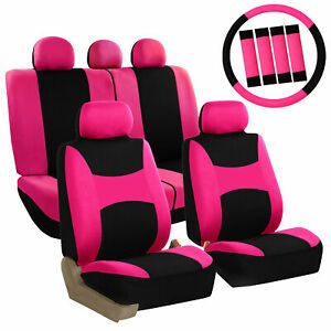 Pink Black Car Seat Covers For Auto Suv Van W Steering Wheel Cover Belt Pad