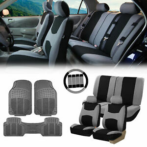Gray Black Car Seat Covers For Auto W steering Cover belt Pads floor Mat