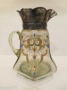 Bohemian Pitcher Jug Glass Silver Plated Antique 1890 1910 Italian Renascence