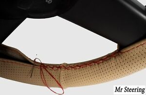 Beige Perforated Leather Steering Wheel Cover Red Stitch For Ford E350 2001 2007
