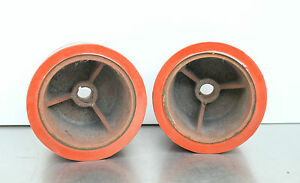 Lot Of 2 Polyurethane Cast Iron Caster Wheels 6 Dia 4 Width Hussey 1033936