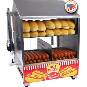 Hot Dog Bun Steamer Cooker Countertop Hotdog Concession Machine Warmer Server